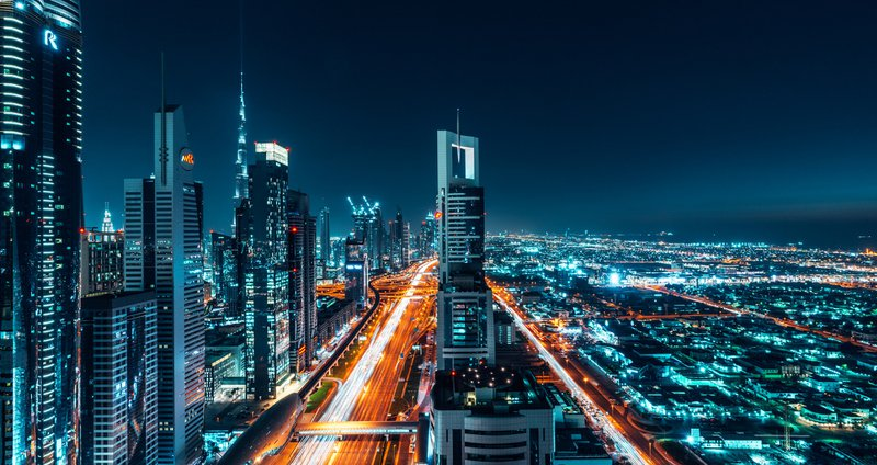 Dubai Cityscape Night Shot Long Exposure